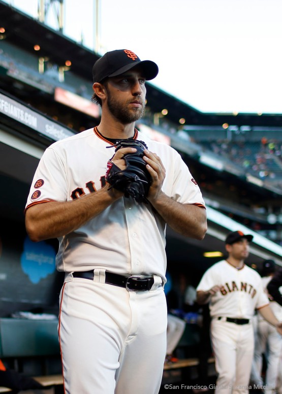 Madison Bumgarner takes the mound to pitch.