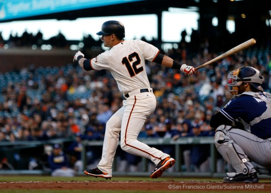 Joe Panik singles in the first inning.
