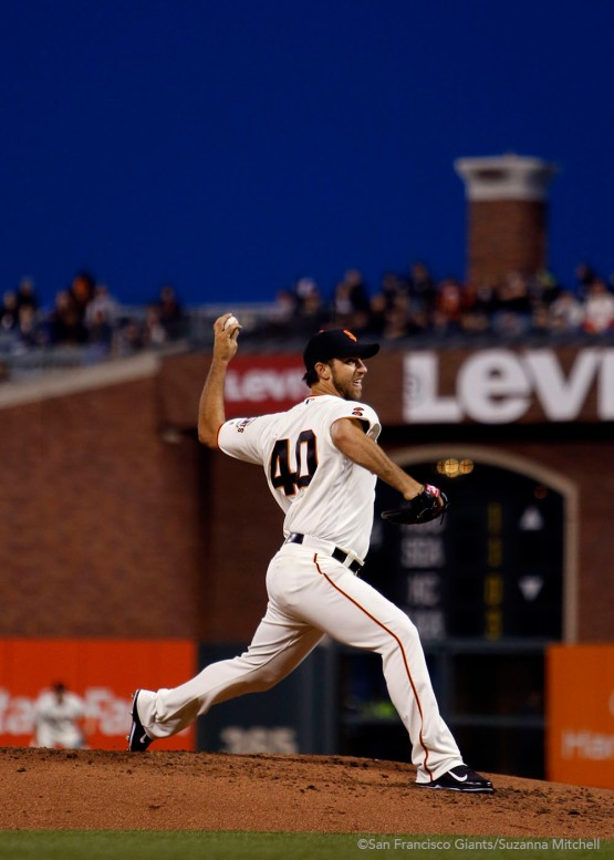 Madison Bumgarner pitched six and two thirds.