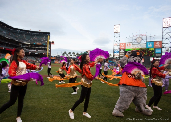 Lou Seal joins West Portal Elementary Fan and Ribbon dancers at Chinese Heritage Night.