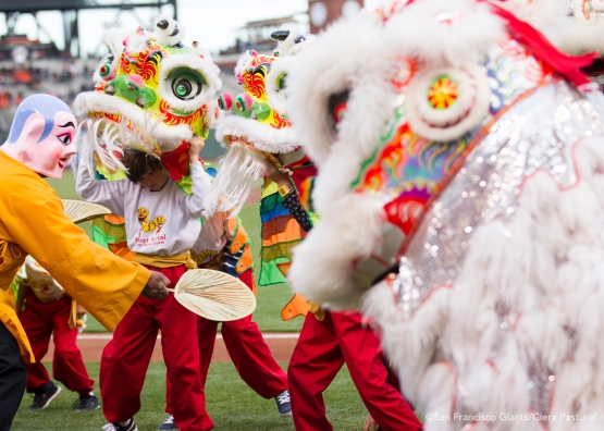 Dragon dancers perform in elaborate attire to celebrate Chinese Heritage Night.