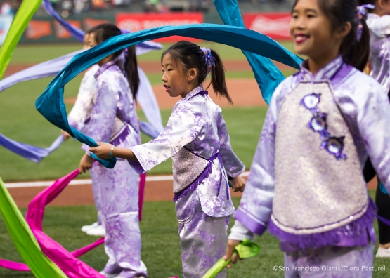 Ribbon dancers put on a vibrant show at AT&T Park.