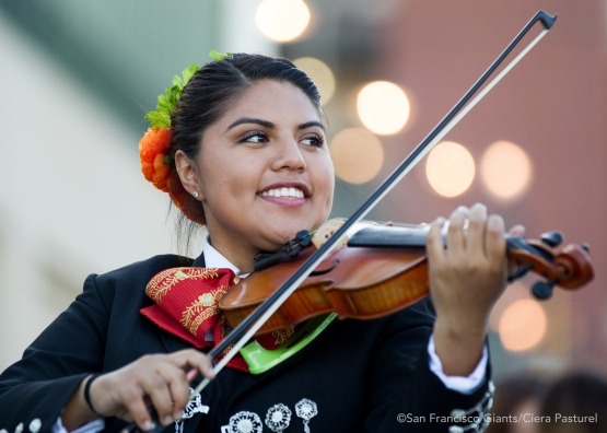 Mariachi Estelar performs at Seals Plaza before the game against the Rockies.