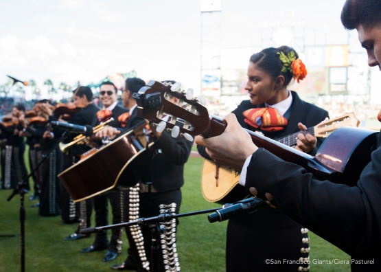 Mariachi performers play festive songs in celebration of Cinco de Mayo at AT&T Park.