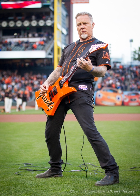 Metallica band member, James Hetfield, performs the National Anthem.