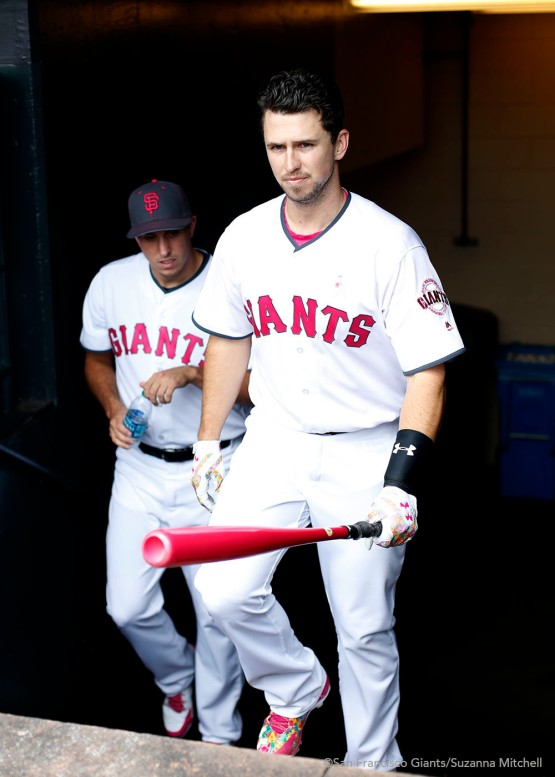 Buster Posey wields his pink bat in honor of Mother's Day.