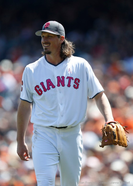 Jeff Samardzija matched his season-high nine strikeouts.