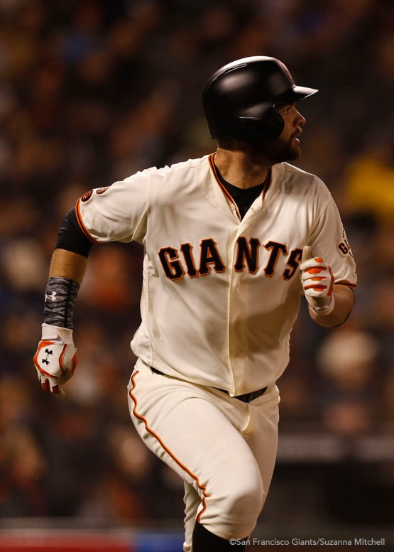 Brandon Belt doubles in the sixth inning.