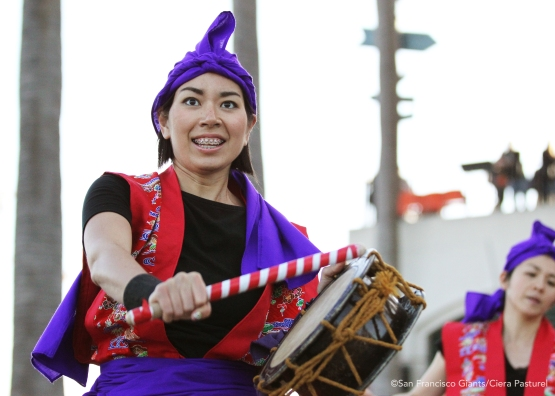 Okinawa Eisa Shima Daiko Drum Group performs at Seals Plaza.