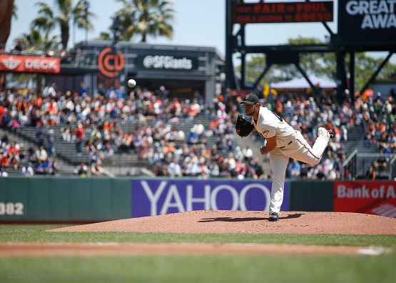 Madison Bumgarner pitches in the first inning.