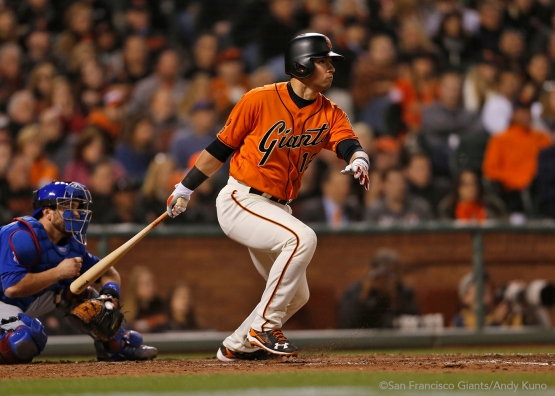 Joe Panik singles in the third inning.