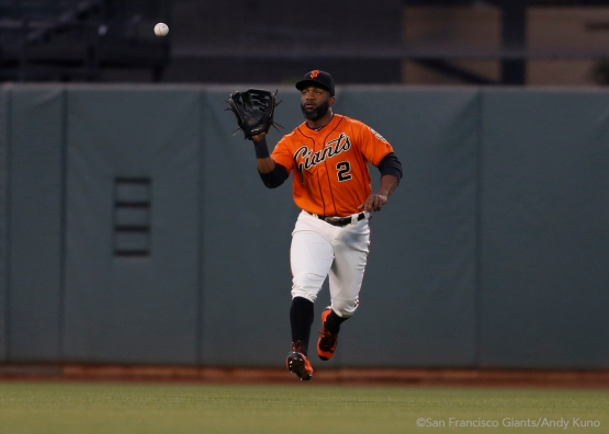 Denard Span catches a ball lined to center field to end the second inning.