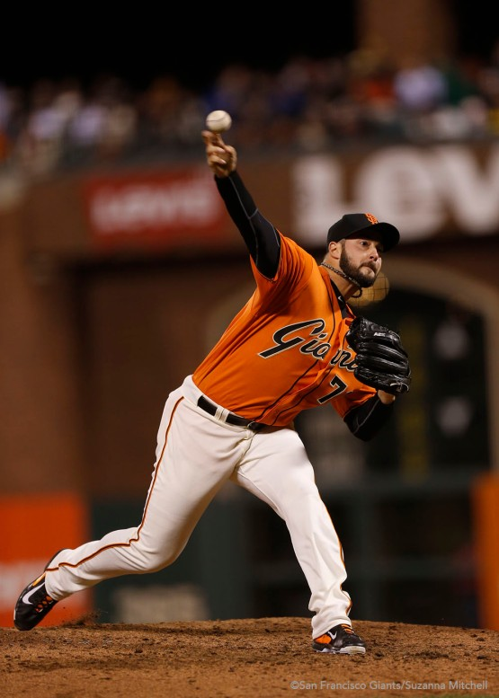 George Kontos pitched in the seventh and eight innings.