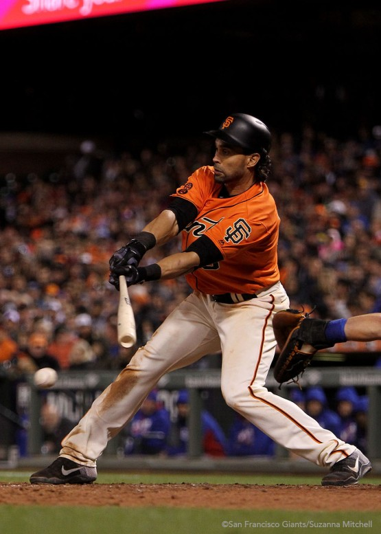 Angel Pagan singles in the fifth inning.