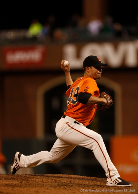 Javier Lopez pitched in the ninth inning.