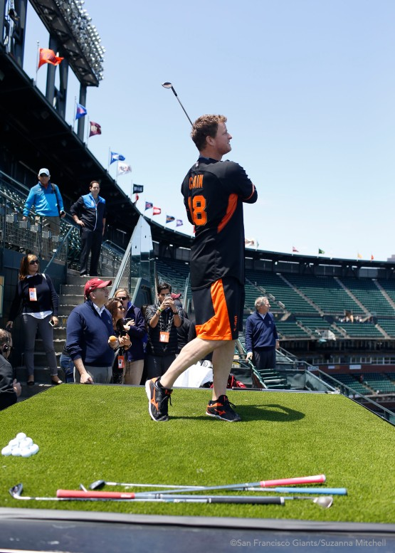 Matt Cain chips onto the field.