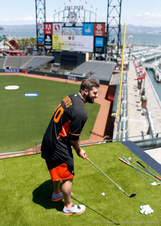 George Kontos aims his chips at the targets on the field.