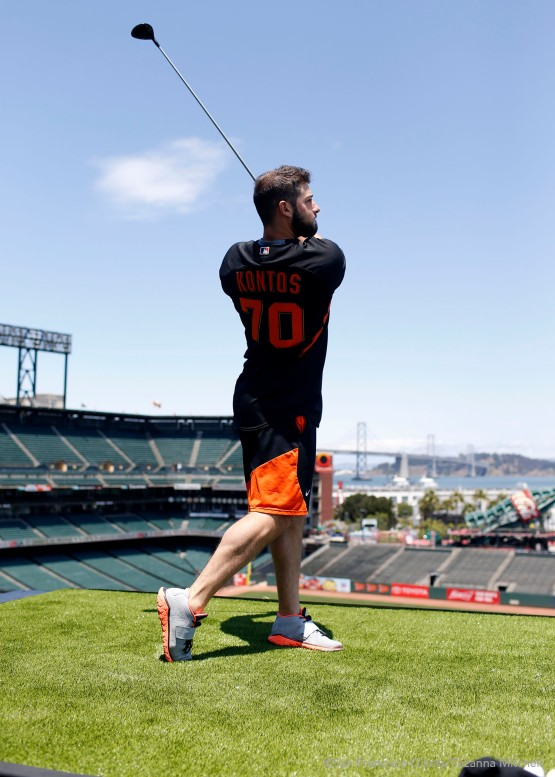George Kontos follows through on a drive.