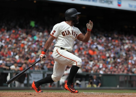 Denard Span doubles in the seventh inning.