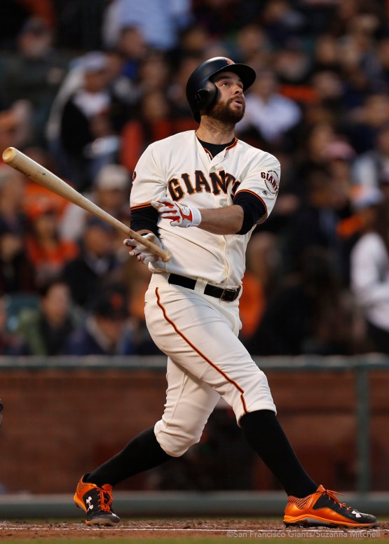 Brandon Belt hits a home run in the fourth inning.