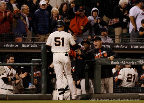 Mac Williamson celebrates after hitting his first Major League home run in the eighth inning.