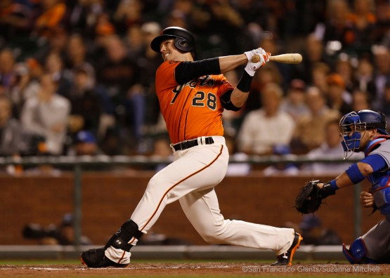 Buster Posey doubles in the sixth inning.