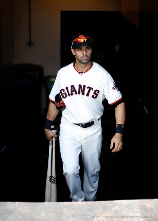 Angel Pagan prepares for the game.