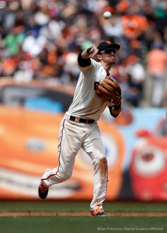 Matt Duffy throws out Hernan Perez in the sixth inning.