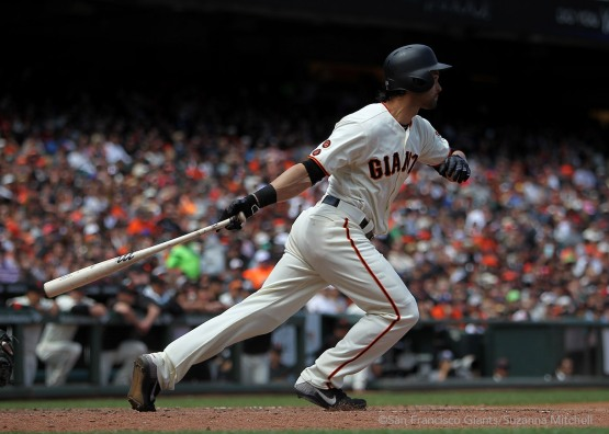 Angel Pagan singles in the sixth inning.