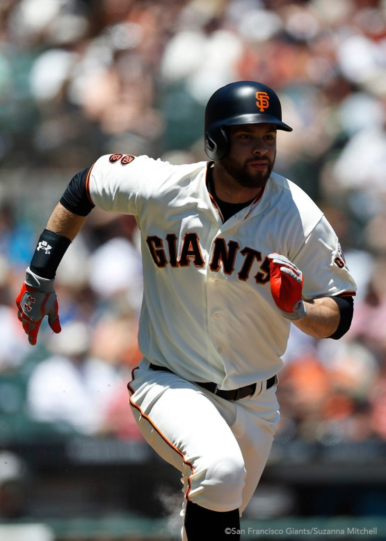 Brandon Belt doubles in the first inning.