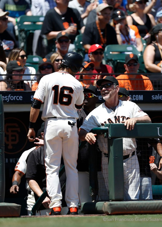 Angel Pagan celebrates after scoring a ground ball hit by Brandon Crawford in the first inning.