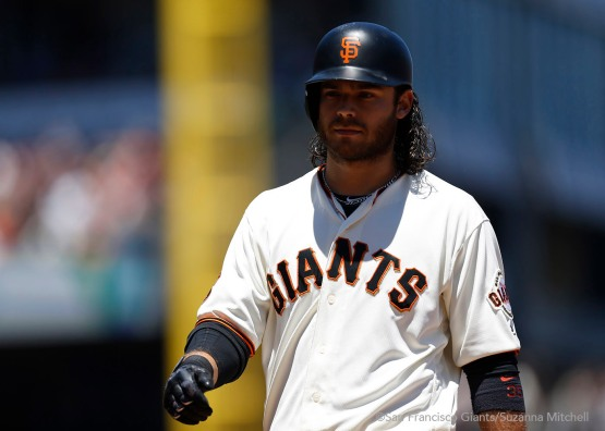 Brandon Crawford singles in the third inning.