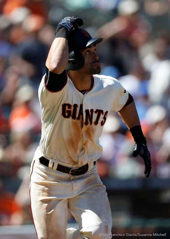 Angel Pagan doubles during the seventh inning.