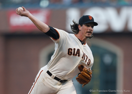San Francisco Giants Jeff Samardzija pitches during the 2nd inning against the Oakland A's.