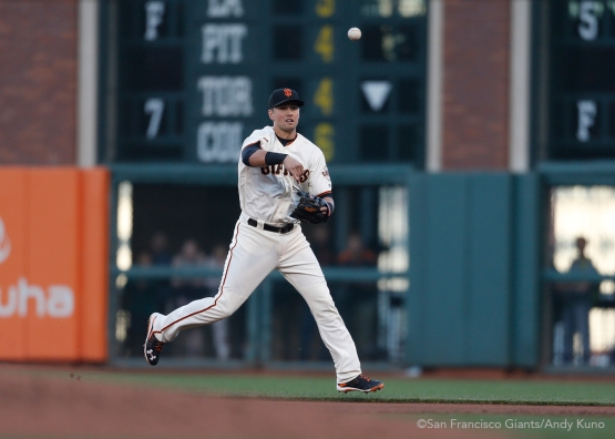 San Francisco Giants second baseman Joe Panik throws out a runner at first base during the 3rd inning.