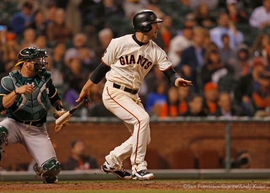 San Francisco Giants Conor Gillespie singles in the 8th inning.