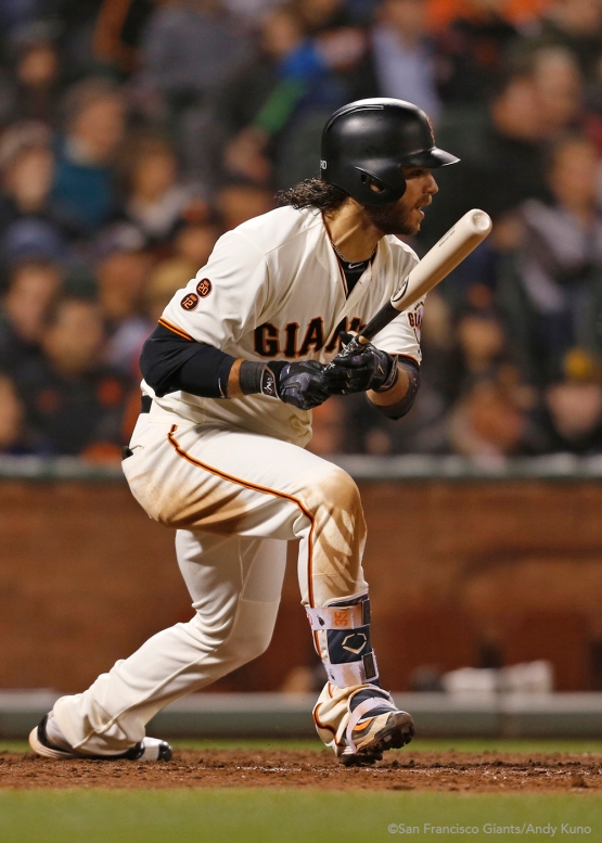 Brandon Crawford triples in the sixth inning.