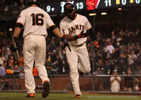 Denard Span celebrates after hitting a home run in the ninth inning.