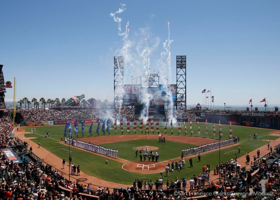 In honor of the Fourth of July, the Giants had a special pregame ceremony.