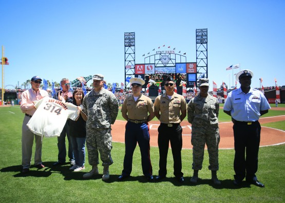 Operation Care and Comfort is honored with a ceremony before the game.