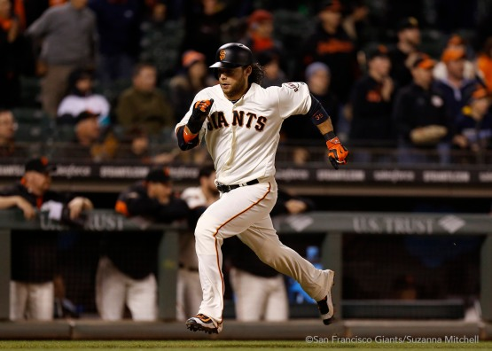 Brandon Crawford scores on a single hit by Mac Williamson in the ninth inning.