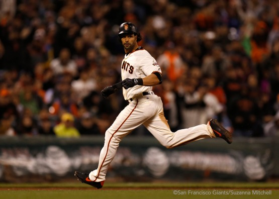 Angel Pagan triples in the fifth inning.