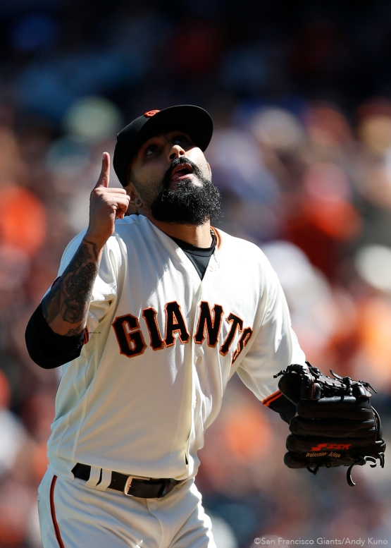 San Francisco Giants pitcher Sergio Romo celebrates a clean 8th inning.