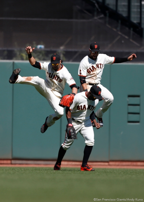 San Francisco Giants outfielders Angel Pagan, Denard Span and Gregor Blanco celebrate another Giants win.