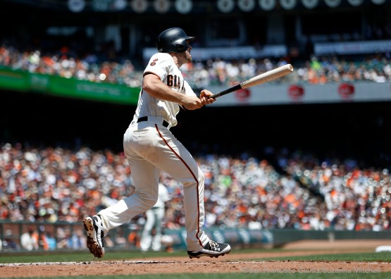 Conor Gillaspie hits a home run in the third inning.