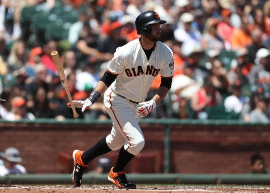 Brandon Belt singles in the second inning.