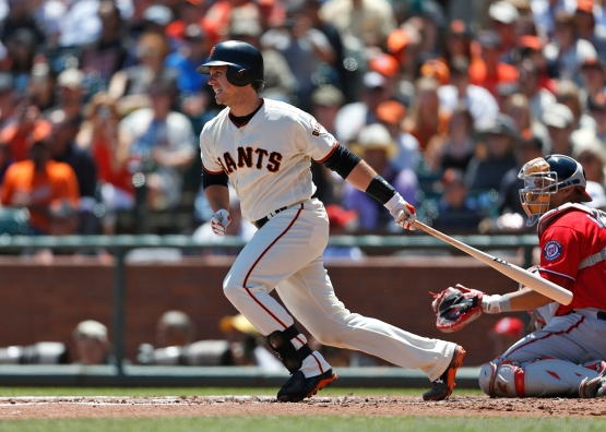 Buster Posey singles in the second inning.
