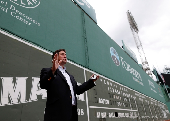 General Manager Bobby Evans shares stories of his internship for the Boston Red Sox outside the Green Monster at Fenway Park.