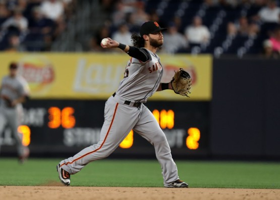 Brandon Crawford throws out Carlos Beltran to end the game.
