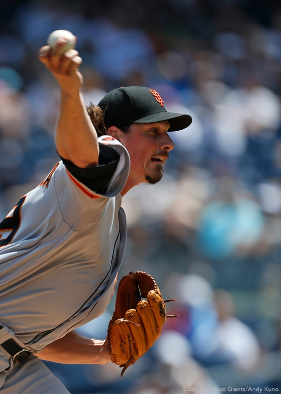 San Francisco Giants starting pitcher Jeff Samardzija face the Yankees during the 2nd inning at Yankee Stadium.